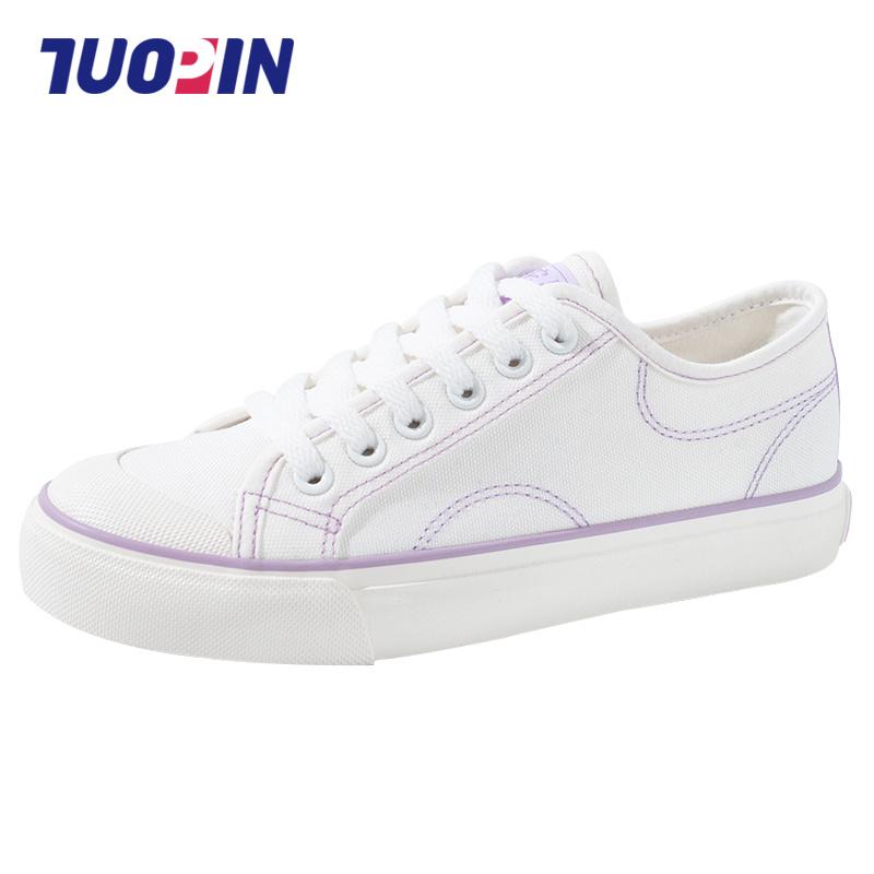 鮀品帆布鞋女夏季2020年新款小白板鞋薄款单鞋网红百搭洋气女鞋子