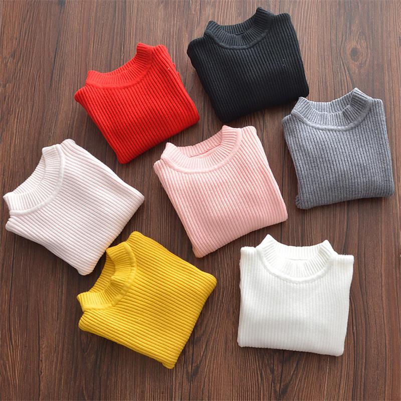 2020儿童毛衣男童女童打底衫中小童半高领套头秋冬纯色弹力针织衫图片