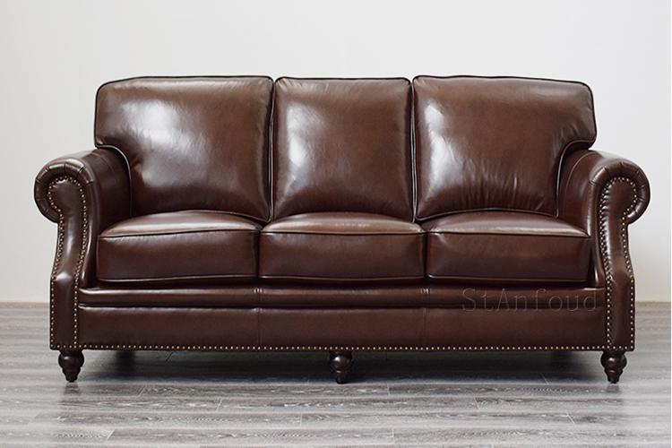 真皮沙发头层牛皮质美式客厅家具小户型单人三人组合羽绒单双人位