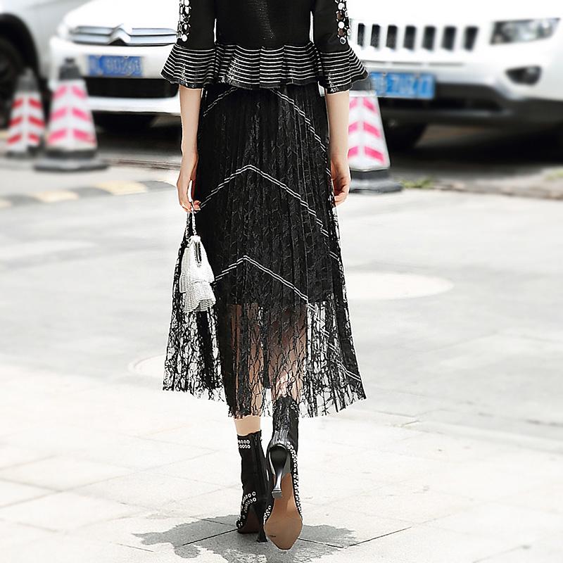 限100000张券欧美高端2019新款黑色蕾丝裙子女 显瘦半身长裙 高腰百褶半身裙潮