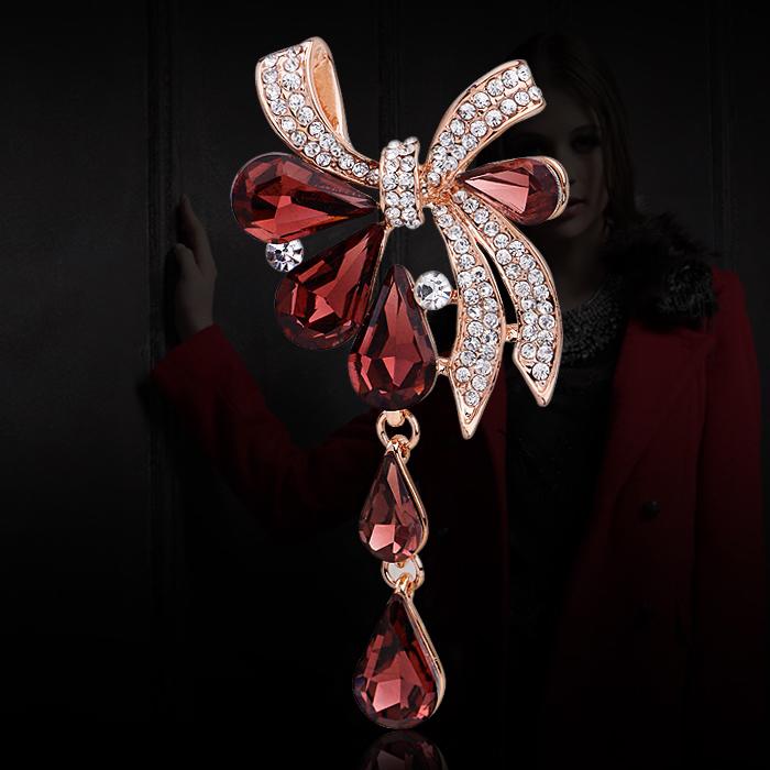 欧美名媛风 时尚典雅酒红色人造水晶流苏胸针女气质胸花别针配饰