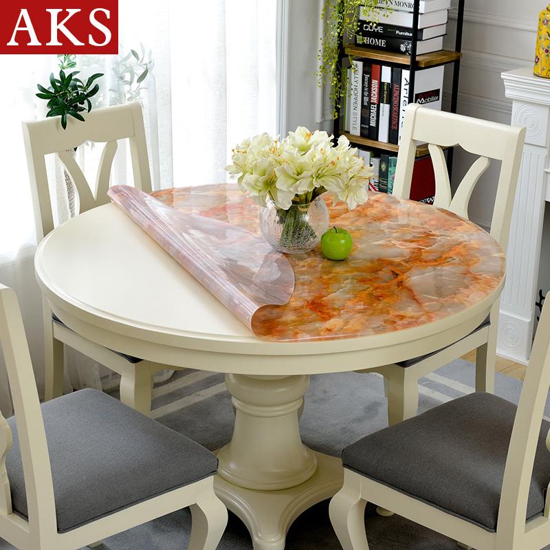圓桌桌布圓桌布茶几桌墊圓形檯布防水防燙防油免洗餐桌布厚軟玻璃