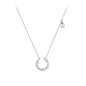 人气韩国JESTINA项链镶锆石吊坠925纯银施华洛珍珠锁骨链女生礼物