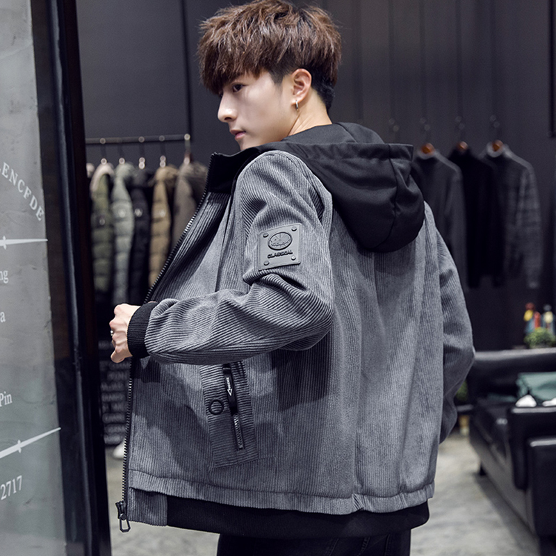 Mens work jacket fashion brand 2021 spring and autumn new autumn and winter Korean clothing handsome trend Hong Kong style jacket mens wear