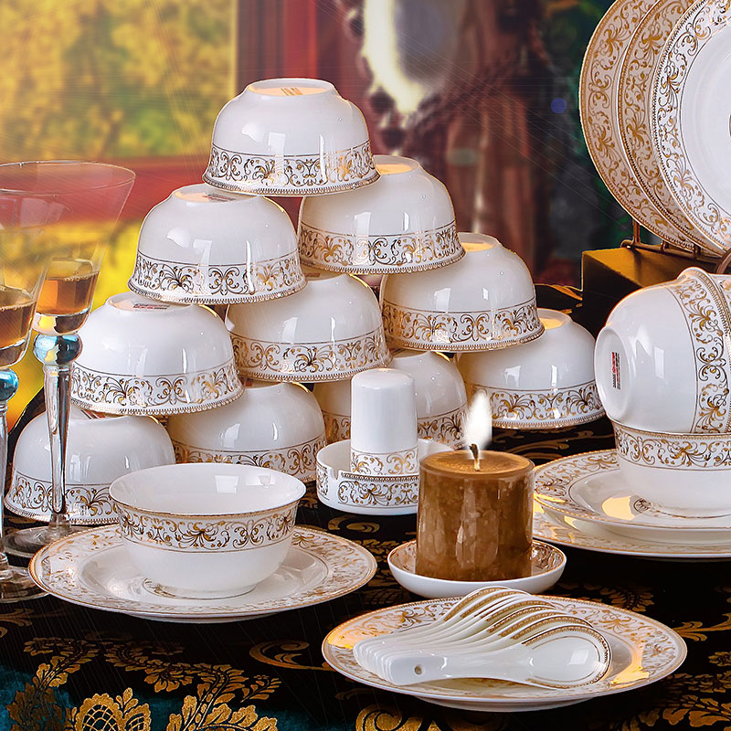 陶美堂56頭景德鎮陶瓷器骨瓷碗盤碗碟餐具套裝家用 送禮歐式