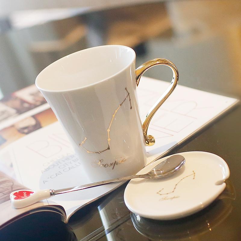 十二星座陶瓷杯子创意水杯时尚马克杯子陶瓷情侣杯对杯咖啡杯带盖