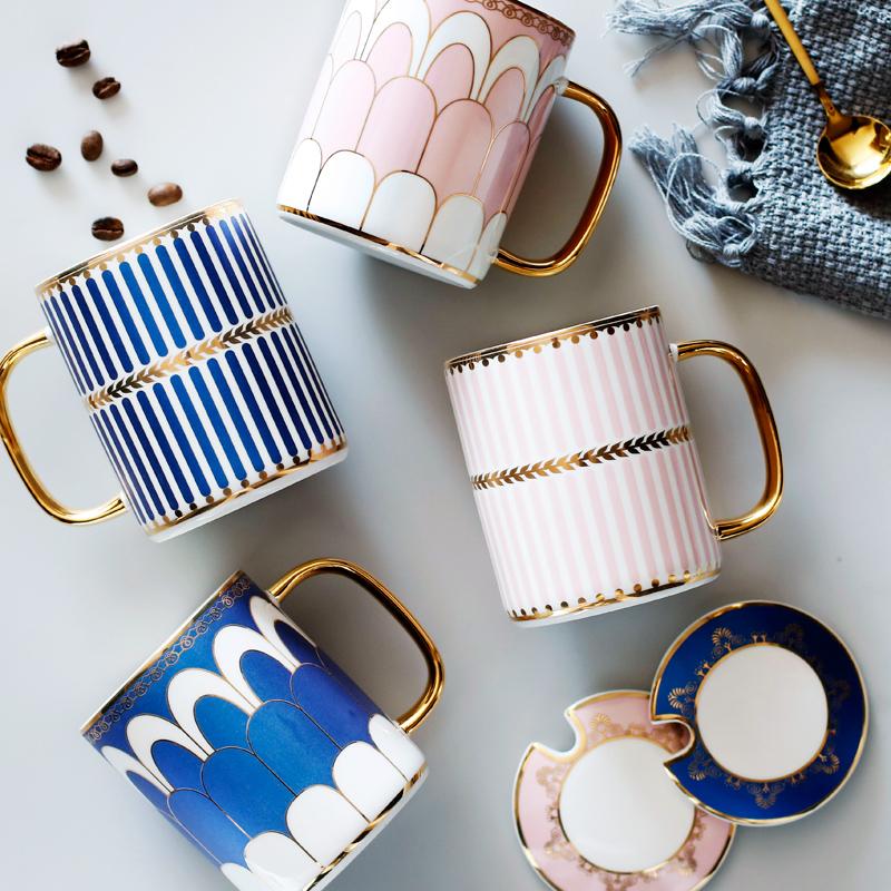创意欧式英伦陶瓷情侣马克杯水杯 北欧下午茶杯子咖啡杯带盖送勺