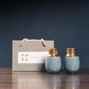 陶瓷龙泉青瓷茶叶罐碧螺春绿茶龙井红茶大红袍包装礼盒套装克通用
