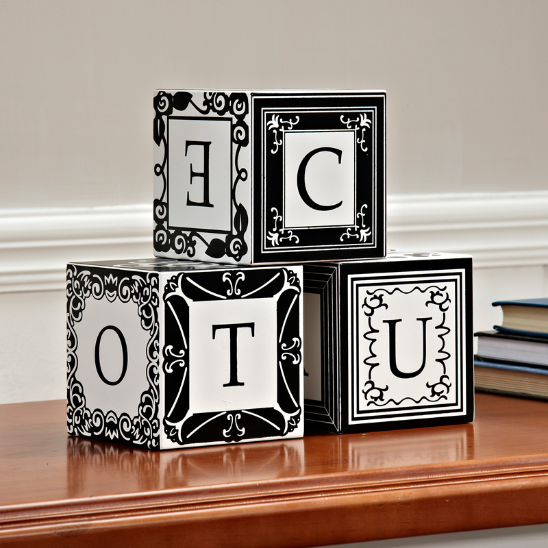 European style creative wooden square ornaments letter home decoration ornaments American bedroom model room crafts