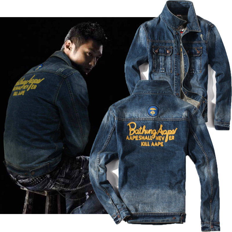 Spring and autumn loose hole denim jacket mens trend Korean functional work jacket versatile Hong Kong Style ins clothes