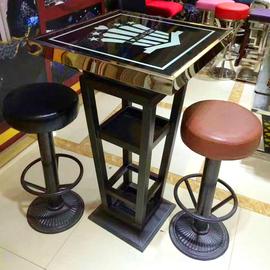 新款酒吧散台圆形发光慢摇吧台桌椅组合KTV茶几桌铁艺高脚凳厂家