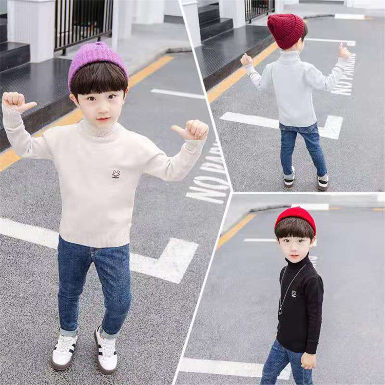 Boys sweater 2021 new childrens autumn and winter high and low neck small, middle and large childrens Plush thickened cotton knitted bottom shirt