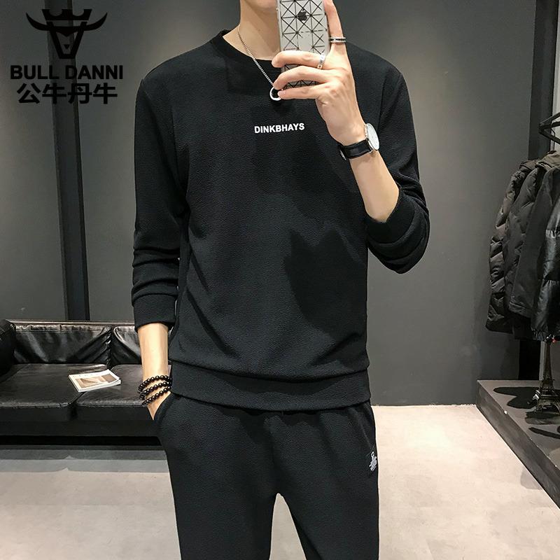 公牛丹尼t恤长袖卫衣男2019新款帅气修身休闲运动男两件套装长裤