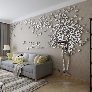 大树亚克力3d立体墙贴画客厅创意电视背景墙简约现代家居装饰品