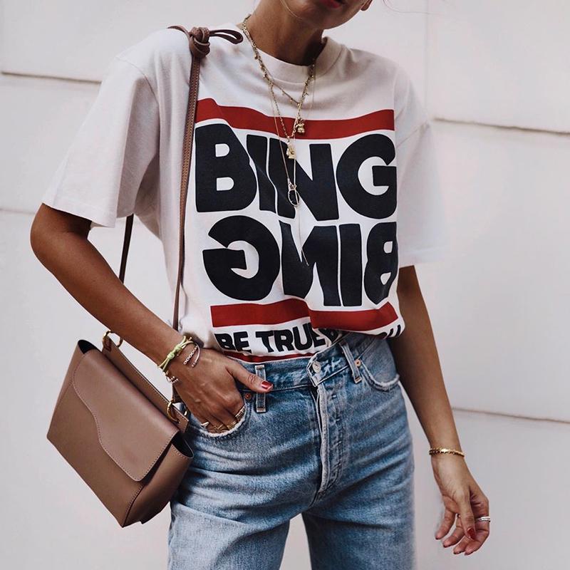 欧美ins女装创意字母Bing印花宽松短袖T恤女港味港风上衣2021新款