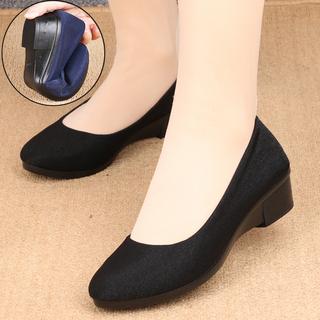 新款正品老北京布鞋女鞋单鞋坡跟套脚中跟工作鞋职业百搭黑色布鞋