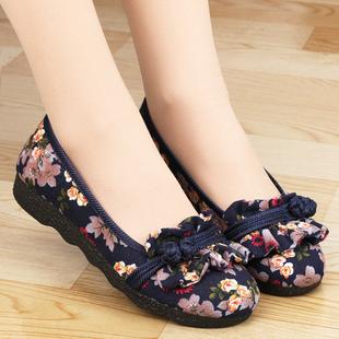 平底复古民族风圆头浅口软底单鞋 女中老年妈妈鞋 中国风老北京布鞋