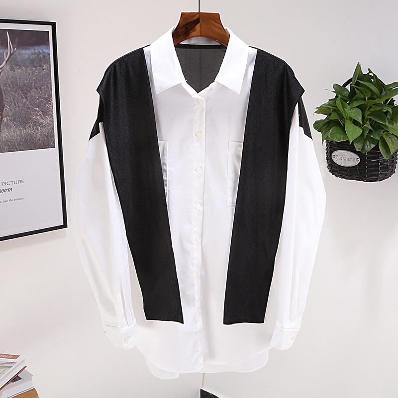 包邮3247 克 2019新款秋女装简约舒适拼接式领口绑带衬衫上衣1264