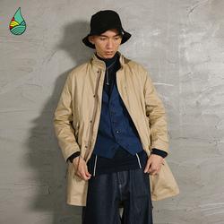 蓝布屋潮牌男士中长款连帽风衣大衣男冬季加厚外套工装风衣820B