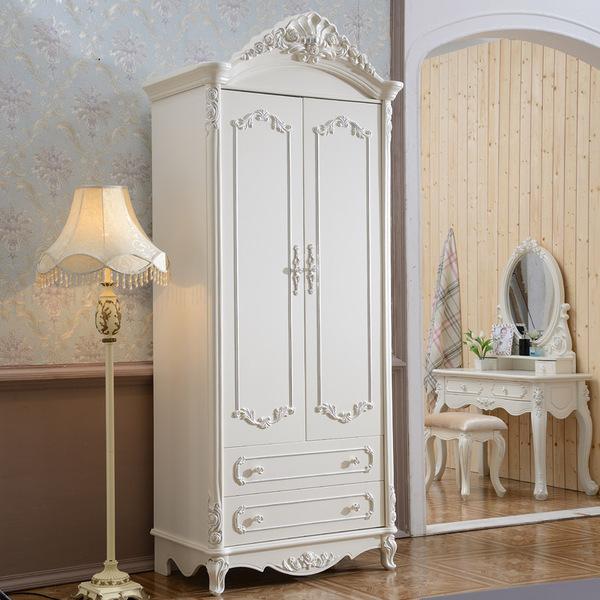 欧式两门衣柜韩式田园欧式整体衣柜欧式衣柜法式实木双门衣橱组装