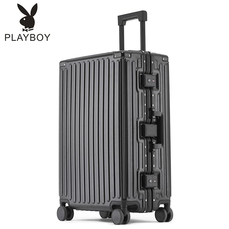 花花公子PC拉杆箱万向轮行李箱包铝框28女旅行箱子男20密码登机箱
