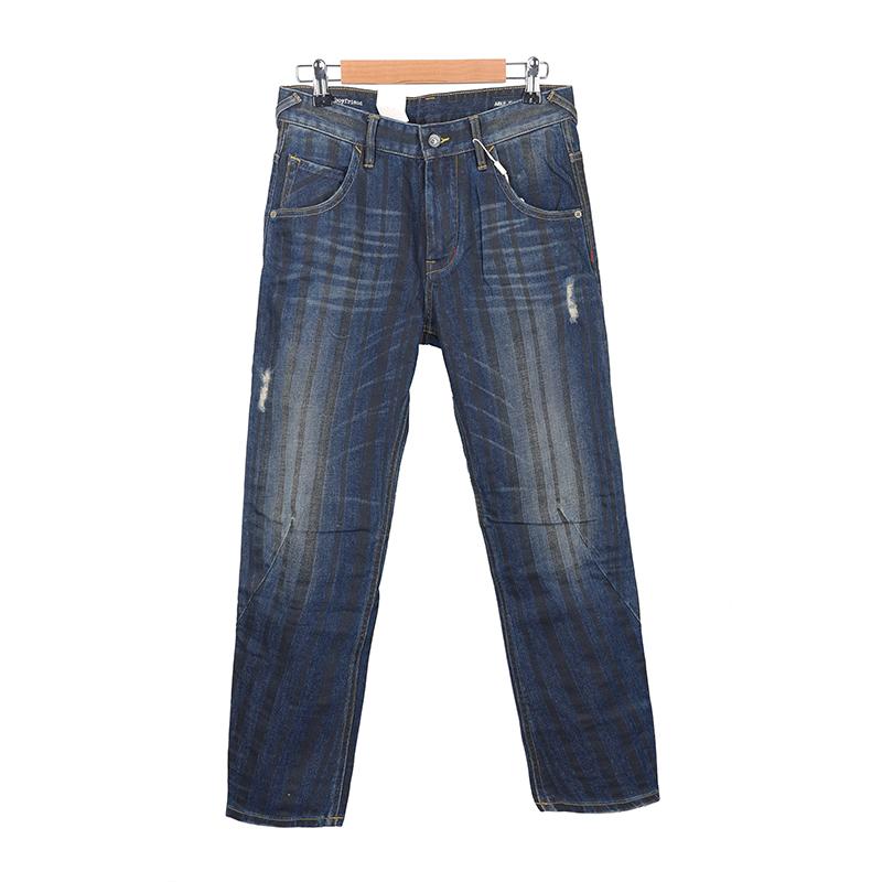 AI series street fashion 3D boyfriends wide elastic dense nice contrast stripe tapered jeans