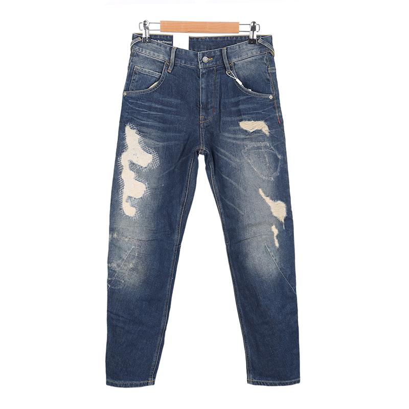 艾系列经典女款街头立体3D男朋友水洗做旧乱针中性锥形破洞牛仔裤