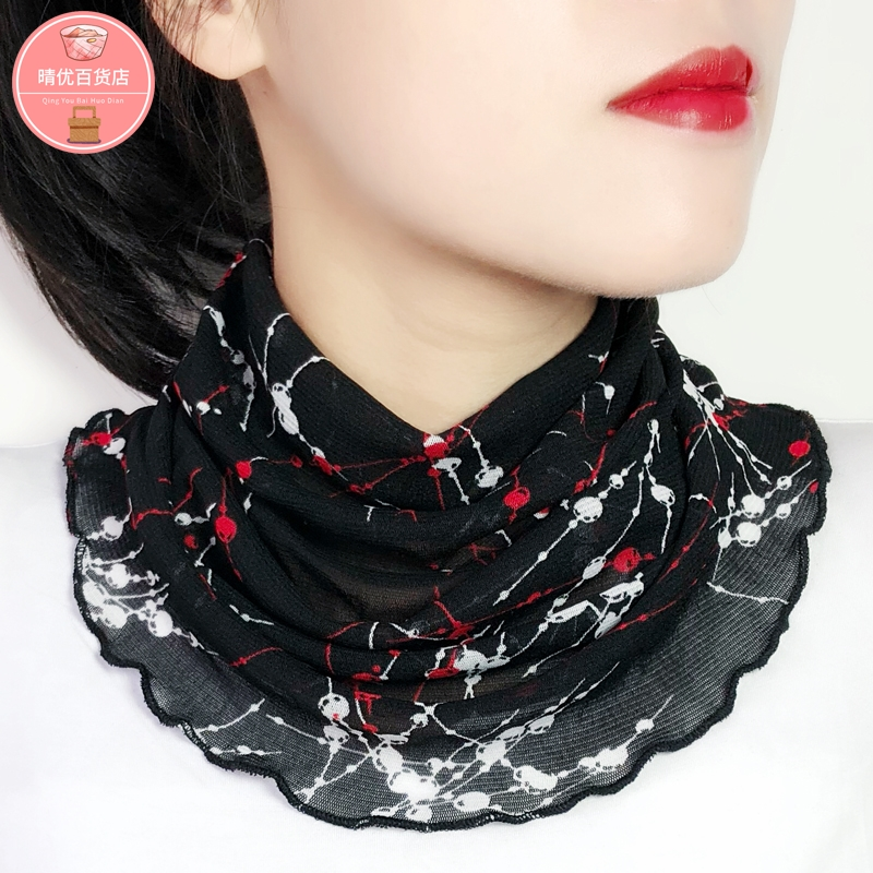 Bib scarf neck cover female small silk scarf false collar cover head spring and autumn winter thin cervical protection warm and versatile fashion