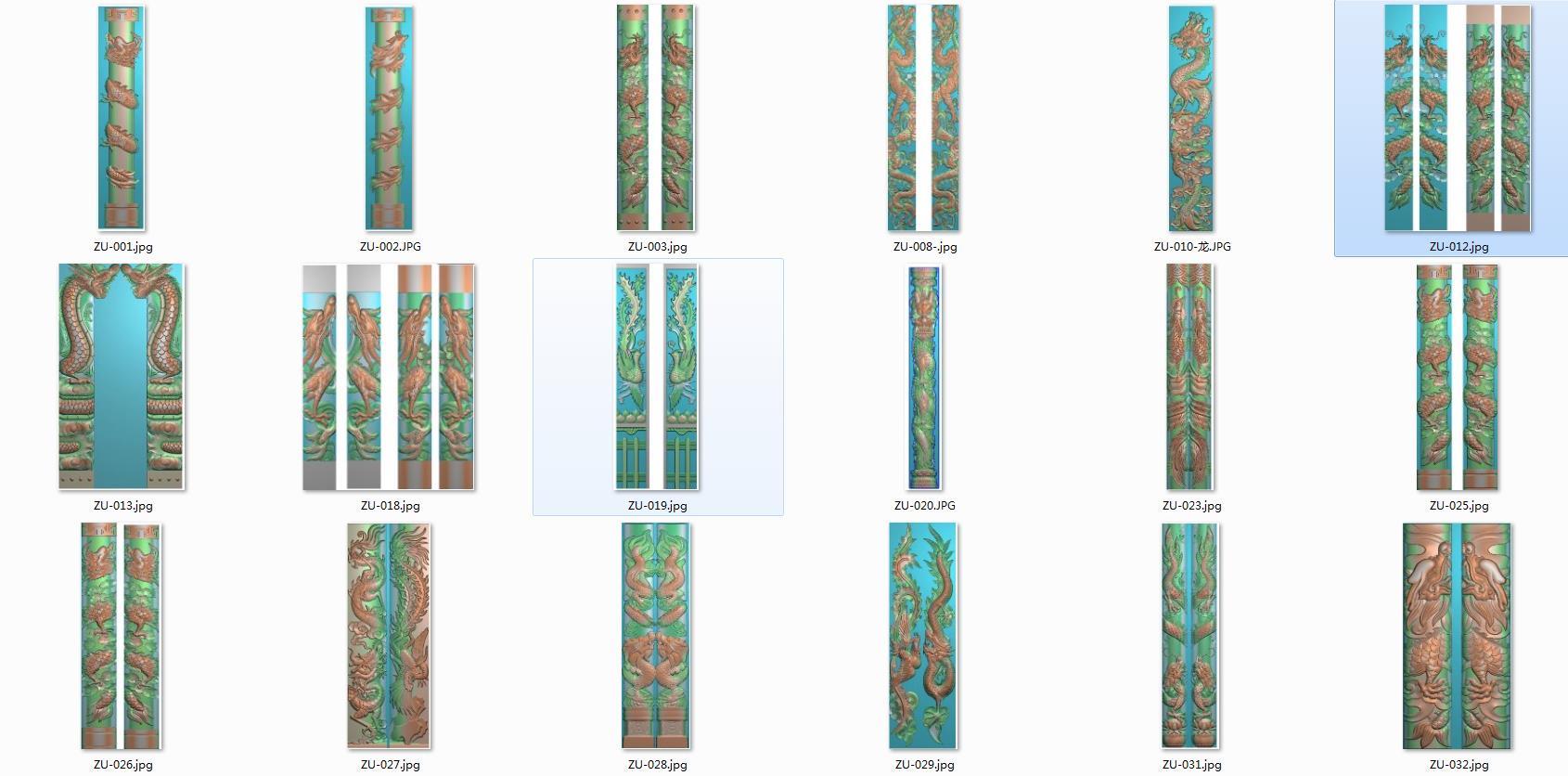 墓碑  半圆龙 龙柱图集 仿古 浮雕石材雕刻 精雕图 灰度图 不带线