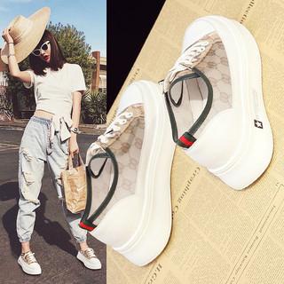 小白鞋2020新款女鞋夏季薄款网面厚底透气镂空百搭松糕内增高鞋子