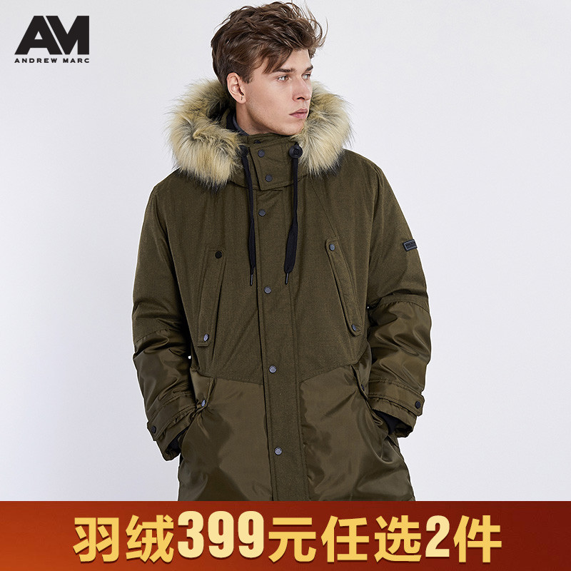 Andrewmarc2019 autumn and winter new men's American tooling medium long down jacket thickened Parka down coat