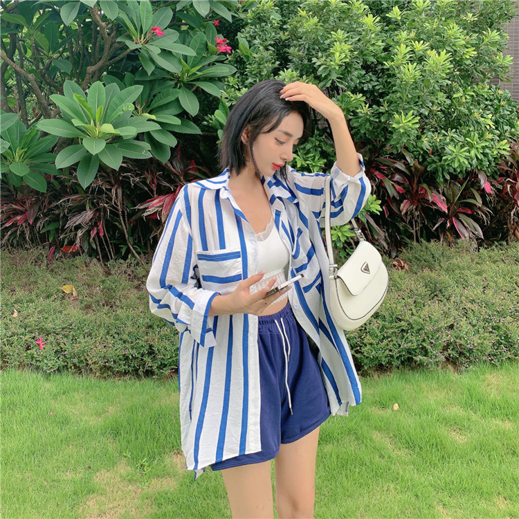 Real 5933# summer blue and white stripe long sleeve sunscreen loose cardigan shirt + casual sweatpants two-piece set