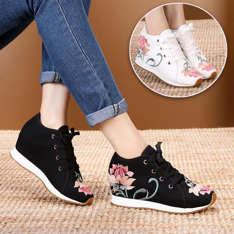 新款老北京布鞋女士正品内增高民族风绣花鞋牛筋底软底妈妈运动鞋