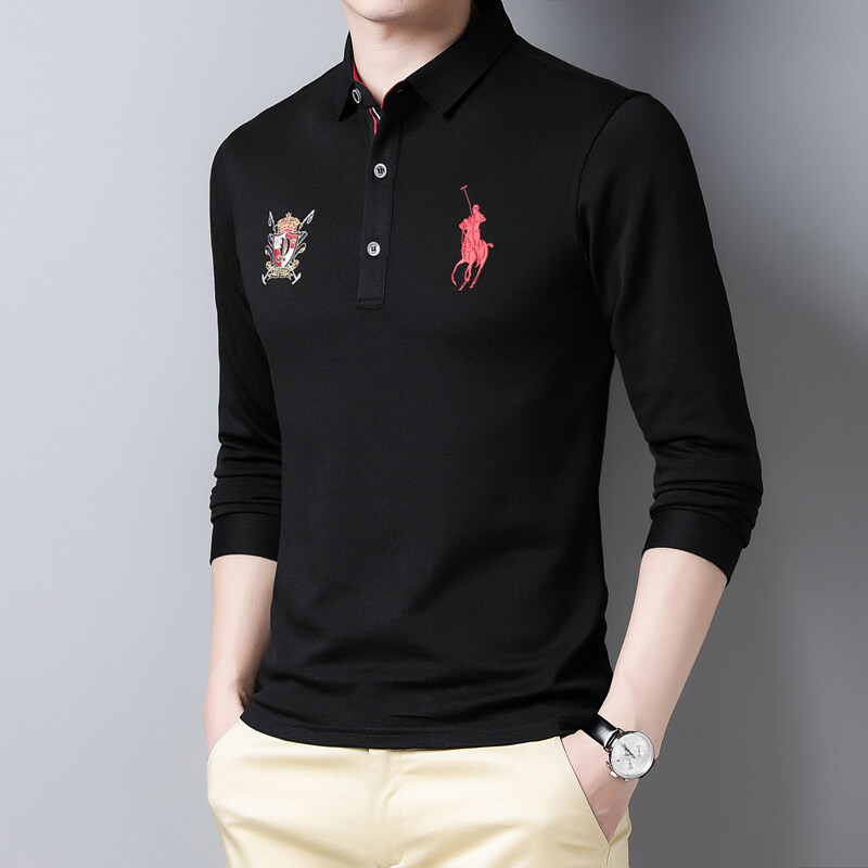2021 Paul autumn and winter new high-end polo shirt mens Polo Shirt casual loose business mens long sleeve