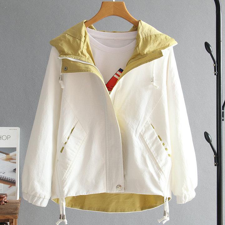Short coat womens spring 2020 new Korean loose versatile hooded Plush casual jacket small windbreaker