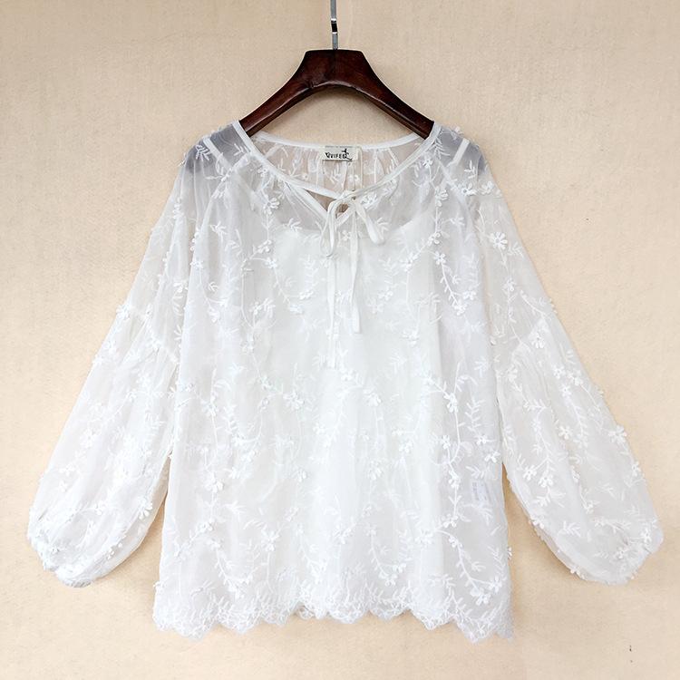 Vivifeel womens dress 2019 Spring Dress Large Size Chiffon shirt three dimensional embroidery flower fashion two piece shirt