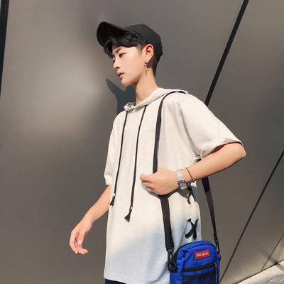 2018夏季韩版新款男士连帽短袖t恤 T63 P45 控价58