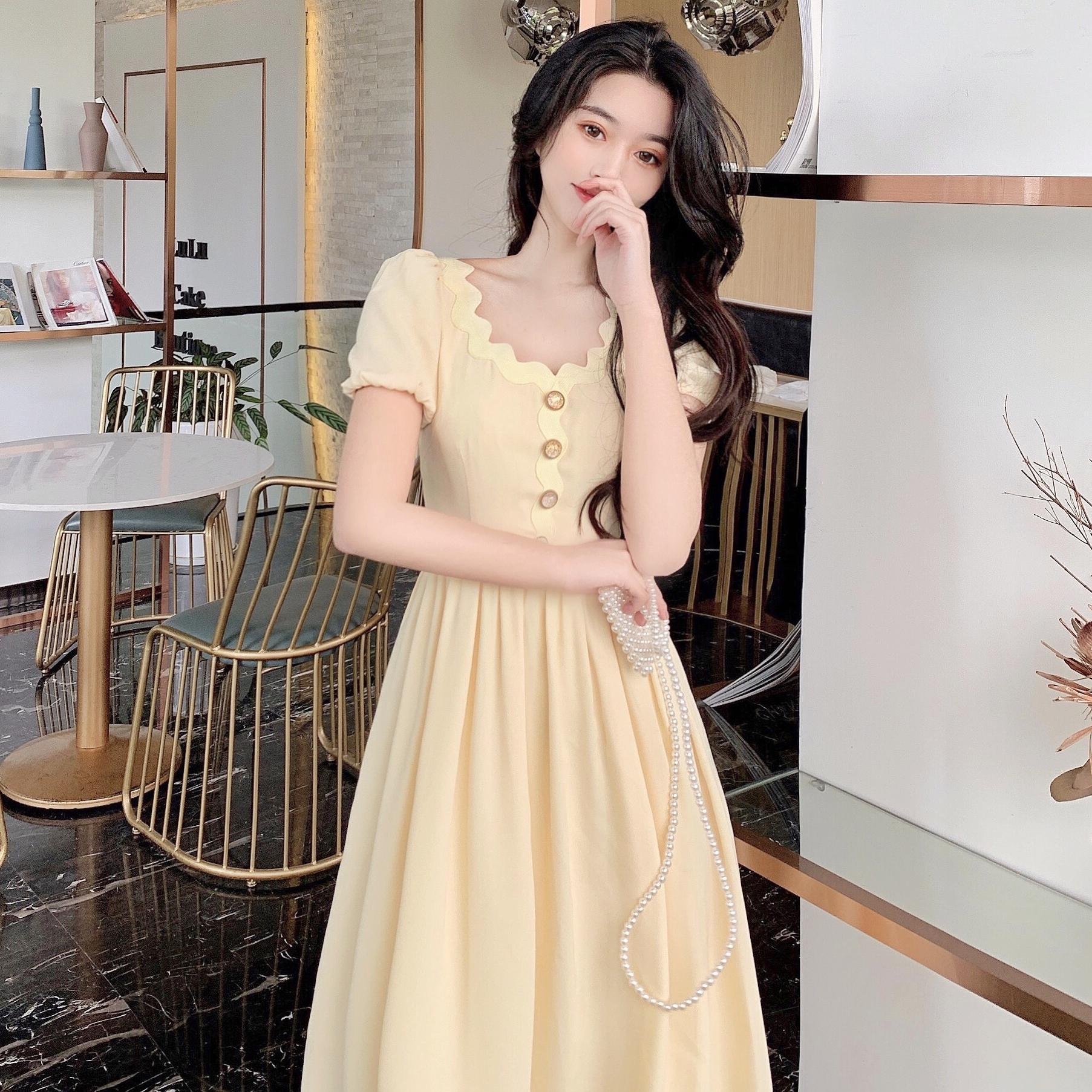 实拍实价 法式复古高腰显瘦短袖连衣裙女淡黄色a字长裙子
