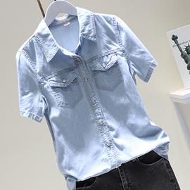 2020夏季新款韩版显瘦中长款牛仔衬衫外套女短袖百搭打底上衣浅蓝