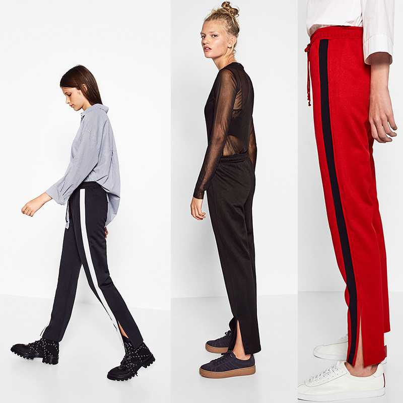 2020 spring and Autumn New Womens vertical stripe side slit casual fashion all-around long pants sports pants jogging pants