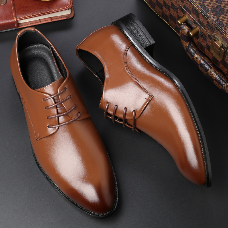 2020 new leather shoes mens four seasons spring Korean business dress British leisure black brown board shoes British