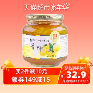韩国原装进口全南 蜂蜜柚子茶1kg水果茶蜜炼果酱冲饮饮品配麦片品牌