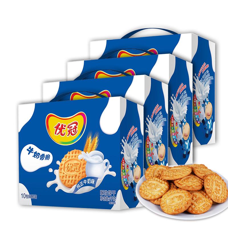 早餐大包装超值装箱41000g优冠饼干牛奶香脆原味优冠亿滋