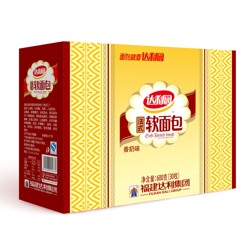 ~天貓超市~達利園 法式軟麵包(香奶味)600g 包 零食