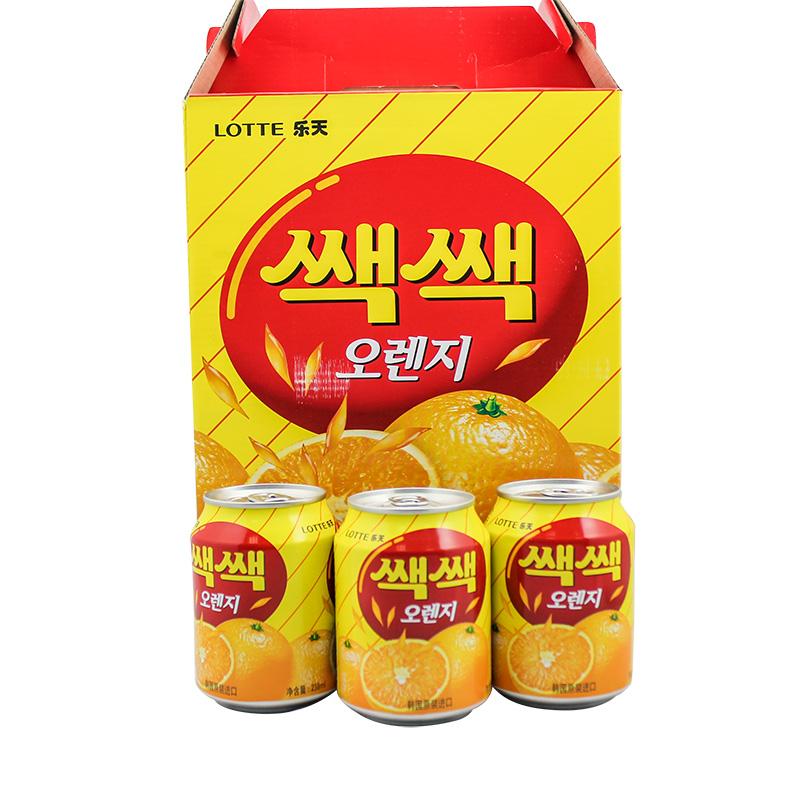~天貓超市~韓國 飲料 樂天 粒粒橙果汁飲料 238ml^~12聽
