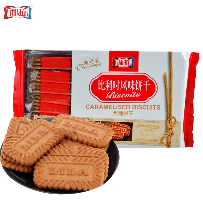 ~天貓超市~利拉比利時風味酥性焦糖餅幹(原味)400g克 包