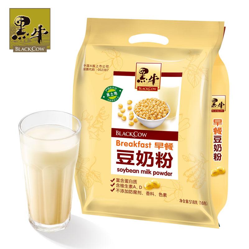 ~天貓超市~黑牛 早餐豆奶粉518g 袋 獨立小包裝 衝飲豆奶粉