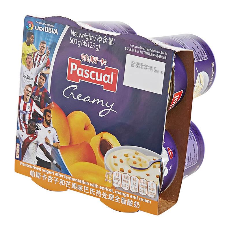 ~天貓超市~西班牙 帕斯卡杏子和芒果味全脂酸奶125g^~4 杯