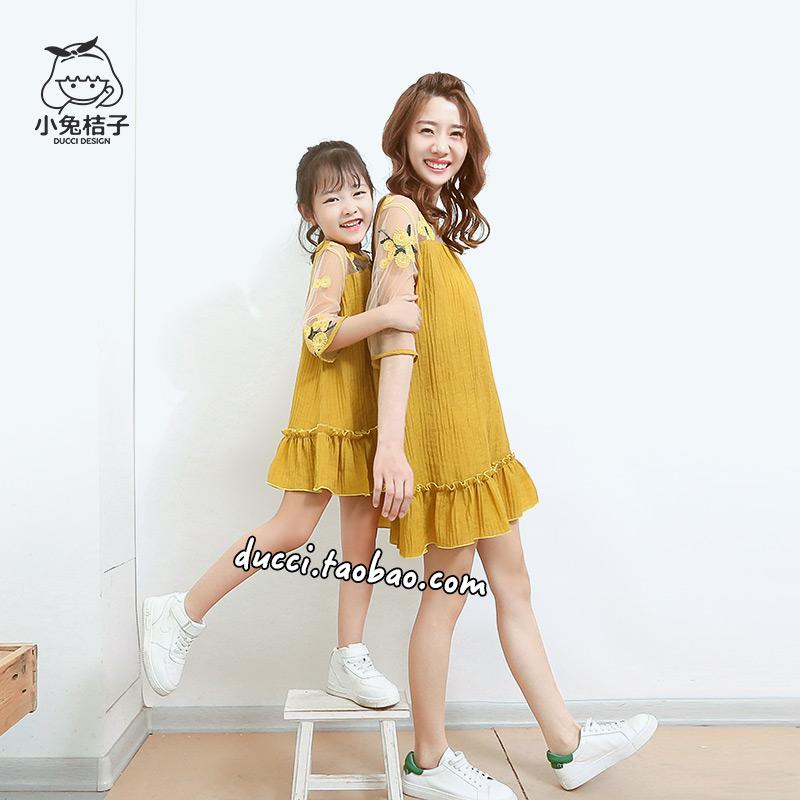 母女装亲子款夏装软纱拼接连衣裙绣花连衣裙夏季女童裙子儿童裙装