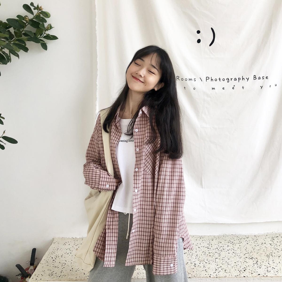YUKI小树家 搭配不用愁假两件长袖格子衬衫T恤韩国新款秋季 c0802